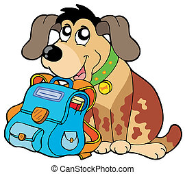 Sitting dog with school bag - vector illustration.