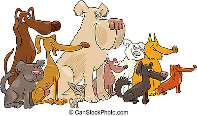 Sitting dogs - Cartoon illustration of Sitting dogs group