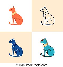 Egyptian cat icon set in flat and line style
