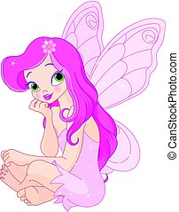 Sitting fairy - Illustration of sitting pink fairy