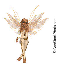 Sitting Fairy - Fairy sitting down and thinking with wings...