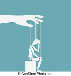 sitting figure puppet. doll on ropes