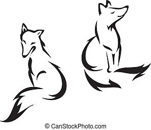 Sitting fox - Fox outline graphic, vector illustration