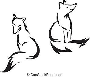 Sitting fox - Fox outline graphic, vector illustration