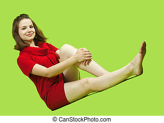 Sitting girl in red dress