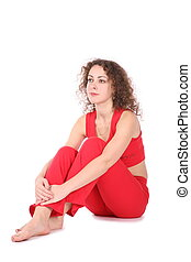 sitting girl in red