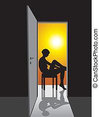 Sitting girl in the doorway