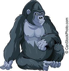 Sitting Gorilla - Illustration of cute cartoon sitting ...