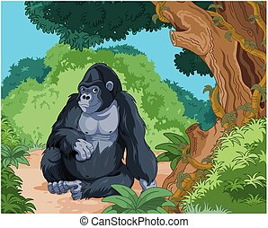 Sitting Gorilla - Illustration of sitting gorilla on...