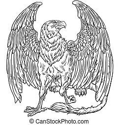 sitting griffin black and white