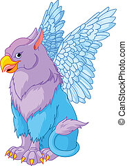 Sitting Griffin - Illustration of beautiful sitting magic...
