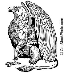 sitting griffin. Side view. Black and white