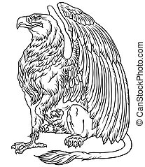 sitting griffin side view outline