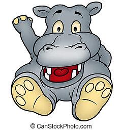 Sitting Hippo - Cartoon Illustration, Vector