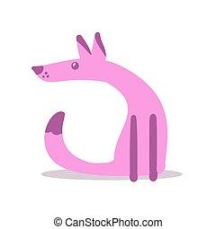 sitting., icon., blanc, rose, vecteur, dessin animé, chien, caractère, illustration., isolé, arrière-plan., conception, plat, coloré