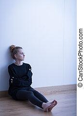 Sitting in empty room
