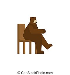sitting., isolated., grizzly bjørn, russisk, stol