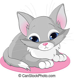 Sitting kitten - Vector illustration of sitting cute gray ...