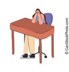 sitting lady procrastinating in desk