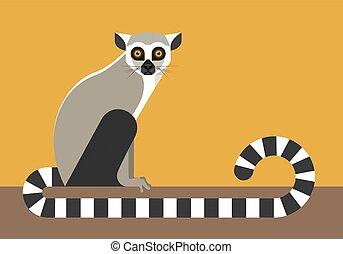 Sitting lemur, minimalist style