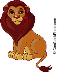 Fully editable illustration of a sitting cartoon Lion
