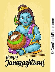 Sitting lord Krishna for poster Happy Janmashtami festival....