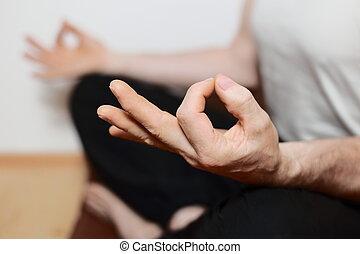 doing yoga meditation