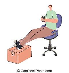 sitting man procrastinating using smartphone