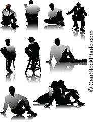 Sitting Men  silhouettes
