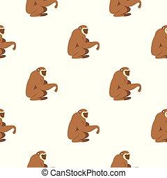 Sitting monkey pattern seamless