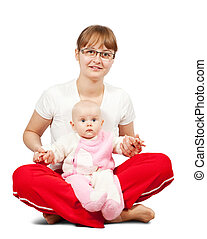 sitting mother with daughter