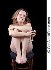 Sitting nudity girl