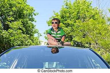 Sitting on a car