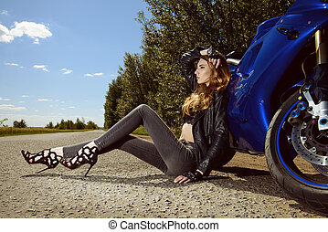 sitting on a road