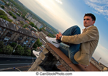 Sitting on a rooftop