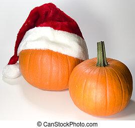 Sitting on Santa Pumpkin's Lap