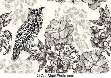 Sitting owl and seamless floral pattern with phlox and roses. Hand-drawn, vector illustration