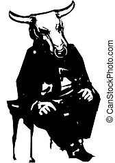 Sitting patient Minotaur - Woodcut style expressionistic ...