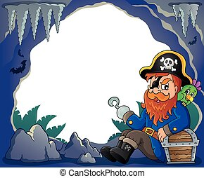 Sitting pirate theme image 4 - eps10 vector illustration.