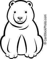 Sitting Polar Bear Black Outline