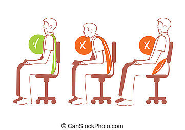 Sitting positions, correct spine posture - Sitting...