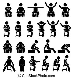 Sitting Postures - Sitting on Chair Poses Postures Human Man...