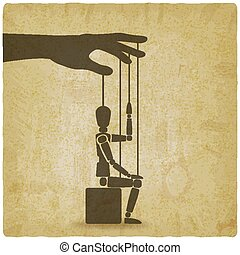 sitting puppet with his hand up vintage background
