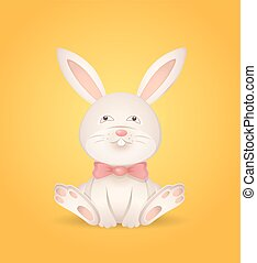 Sitting rabbit with a red bow