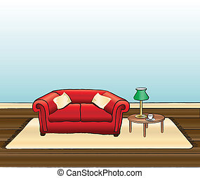 Sitting room - A vector illustration of a sitting room with...