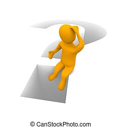 Sitting thinking man and question mark. 3d rendered illustration.