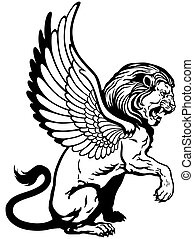 sitting winged lion, mythological creature, black and white tattoo image