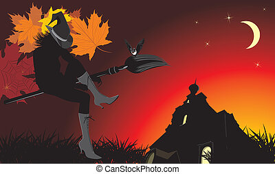 Sitting witch on the broom
