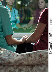 Sitting with nurse