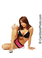 Sitting woman in lingerie